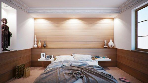 ložnice, bydlení, barvy, kožešiny, dřevo