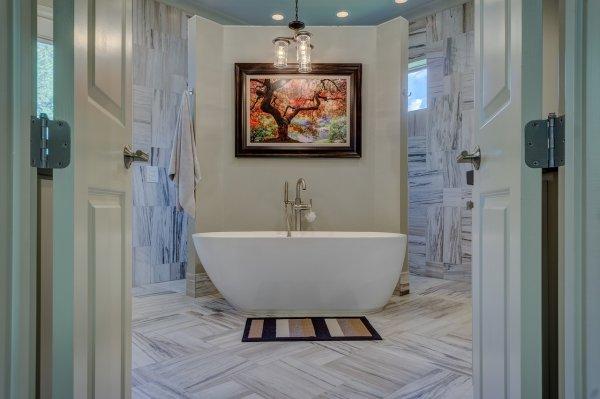 koupelny, bydlení, mosaz, modrá, dřevo